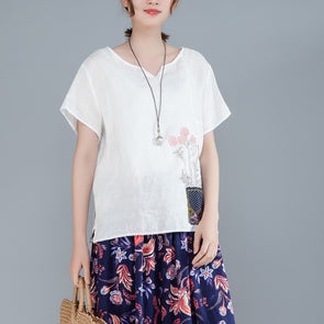 Women Cotton Linen Short Sleeve Embroidery White Tops