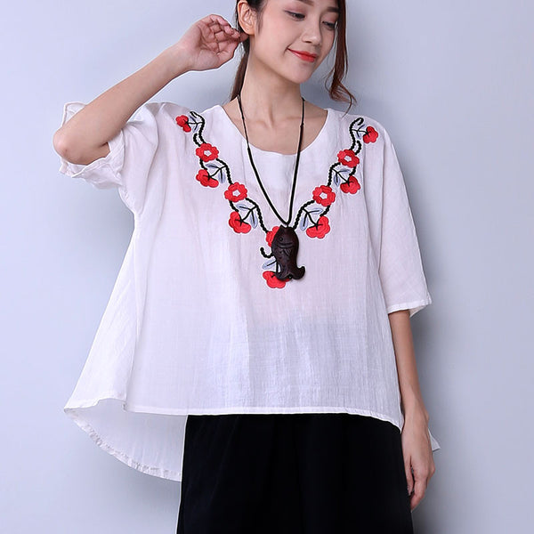 Embroidered Casual Floral Women Loose White Shirt