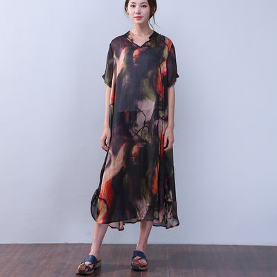 Silk Retro Women Loose String Printing Short Sleeves Black Dress - Buykud