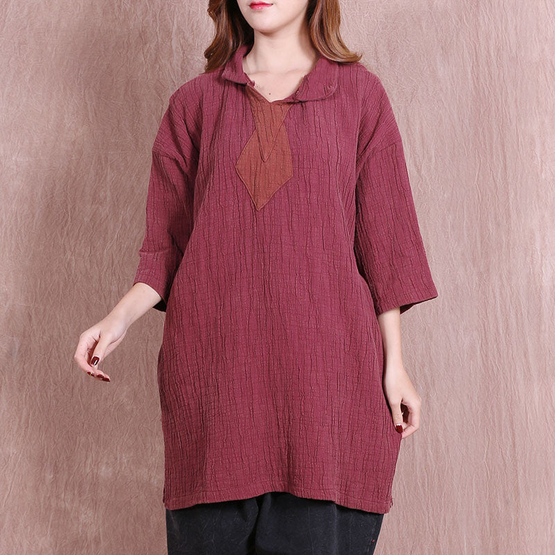 Women Spring Casual Loose Red Shirt - Buykud