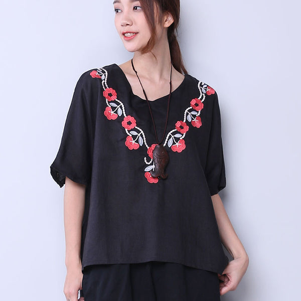 Embroidered Casual Floral Women Loose Black Shirt