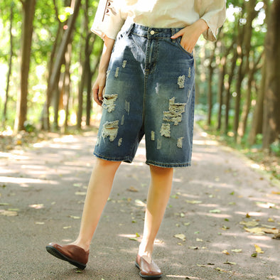 Summer Casual Punk Holes Denim Pants Distressed Shorts For Women - Buykud