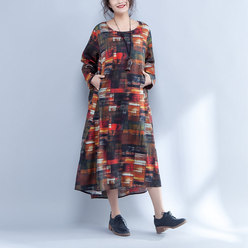 Irregular Round Neck Long Sleeve Printed Loose Dress - Buykud