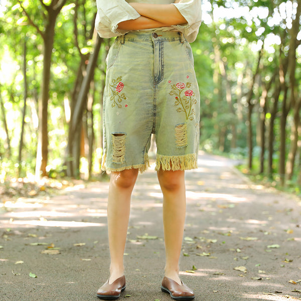 Casual Embroidered Distressed Pants Summer Shorts For Women - Buykud