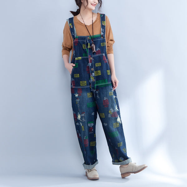 Casual Women Rompers Printed Blue Denim Jumpsuit - Buykud