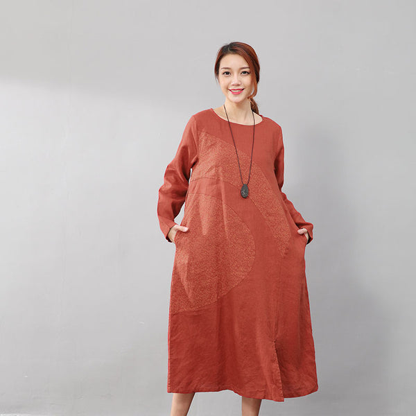 Elegant Women Linen Cotton Casual Printing Long Sleeves Red Dress - Buykud