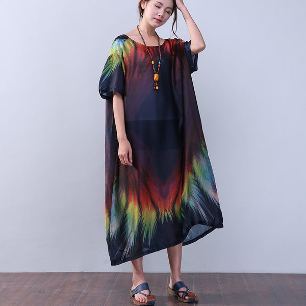 Printing Silk Retro Women Loose Summer Short Sleeves Blue Dress - Buykud