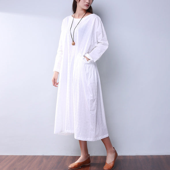 Loose Women Casual Cotton Linen Pocket White Dress - Buykud