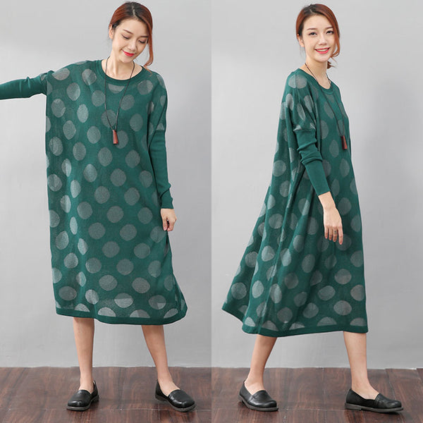 Women Casual Long Sleeve Loose Green Knitted Dress - Buykud