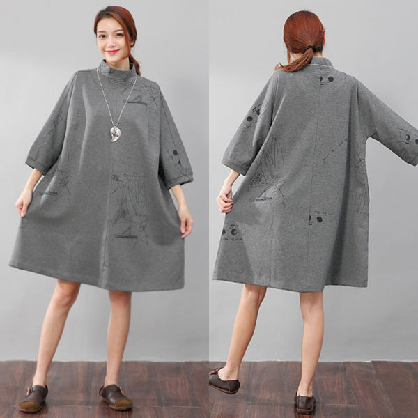 Women Semi-High Collar Casual Loose Printing Pockets Gray Dress - Buykud