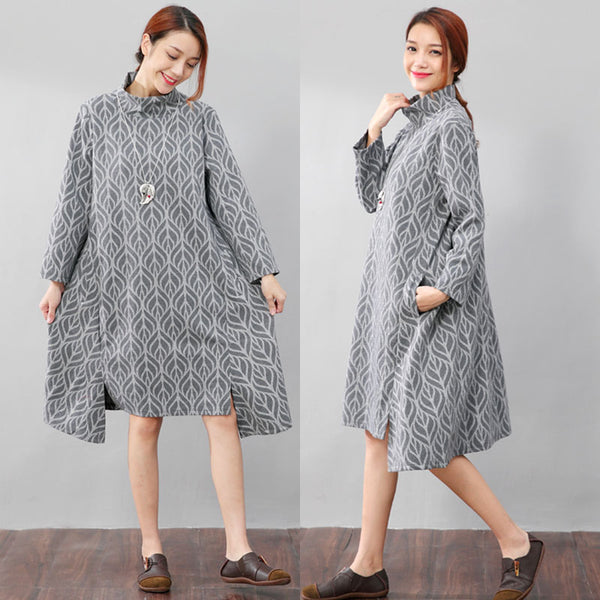 High Collar Printing Stylish Autumn Split Gray Dress - Buykud