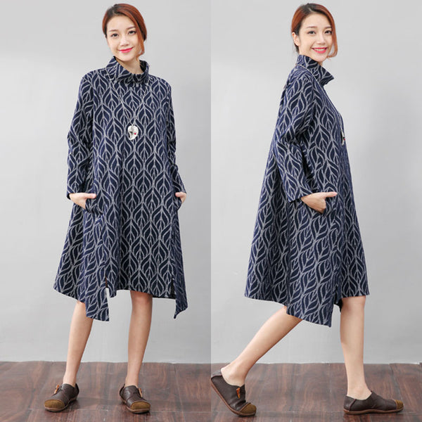 High Collar Printing Stylish Autumn Split Blue Dress - Buykud
