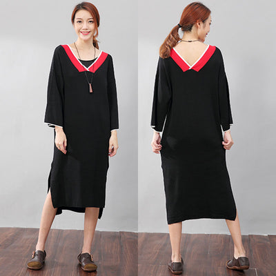 Chic Women V Neck Split Long Sleeves Knitting Black Dress - Buykud
