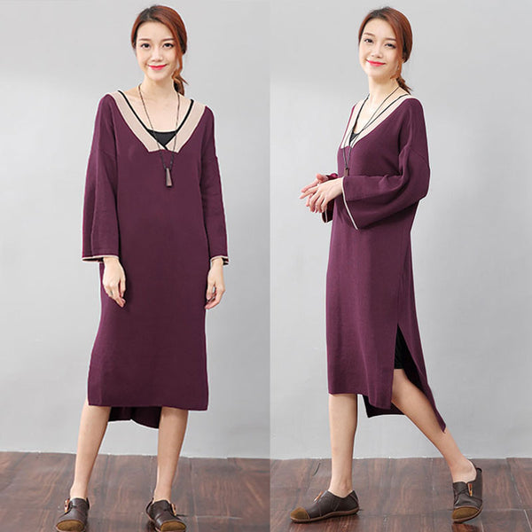 Chic Women V Neck Split Long Sleeves Knitting Purple Dress - Buykud