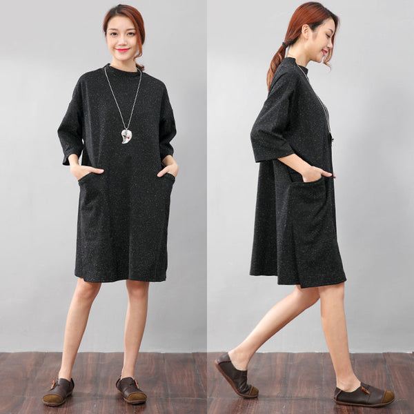 Double Pocket Printing Round Neck Graceful Women Black Shirt - Buykud