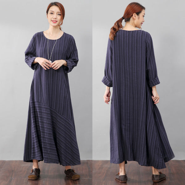 Literature Casual Loose Stripe Pocket Flax Long Sleeves Blue Dress - Buykud