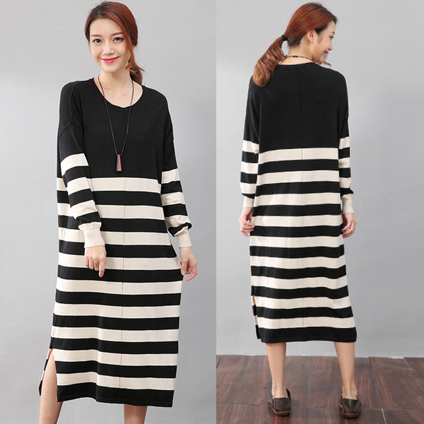 Stripe Casual Loose Split Long Sleeves Knitting Beige Dress - Buykud