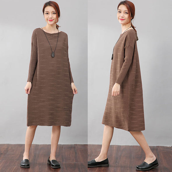Women Autumn Stripe Long Sleeves Knitting Khaki Dress - Buykud
