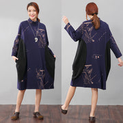 Semi-High Collar Loose Long Sleeve Printing Pockets Blue Dress - Buykud
