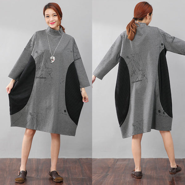 Semi-High Collar Loose Long Sleeve Printing Pockets Gray Dress - Buykud