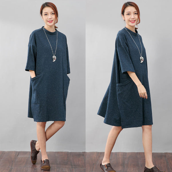 Double Pocket Printing Round Neck Graceful Women Blue Shirt - Buykud
