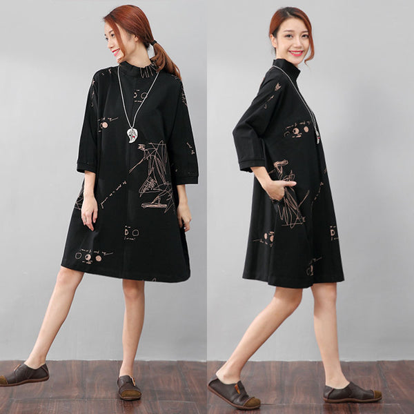 Women Semi-High Collar Casual Loose Printing Pockets Black Dress - Buykud