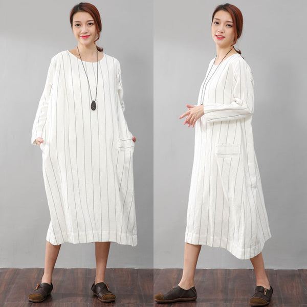Women Stripe Casual Literature Long Sleeve Pockets White Dress - Buykud