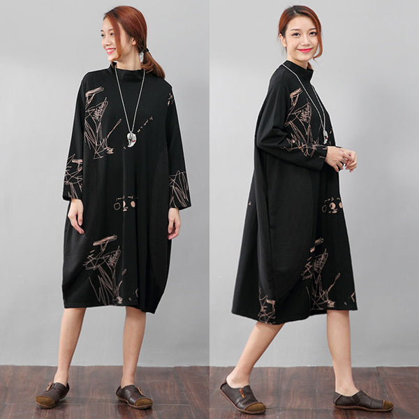 Semi-High Collar Loose Long Sleeve Printing Pockets Black Dress - Buykud