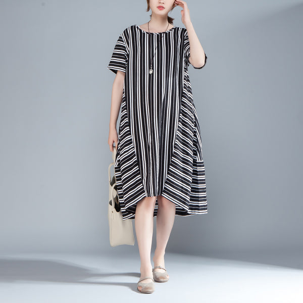 Women Short Sleeve Printed Black Stripe Dress