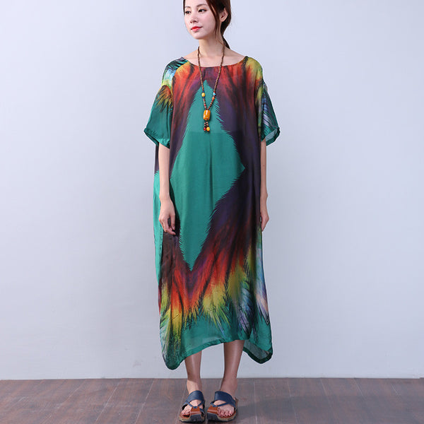 Printing Silk Retro Women Loose Summer Short Sleeves Green Dress - Buykud
