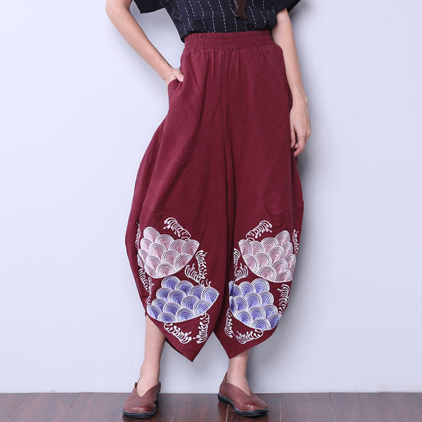 Women Embroidered Loose Red Pants