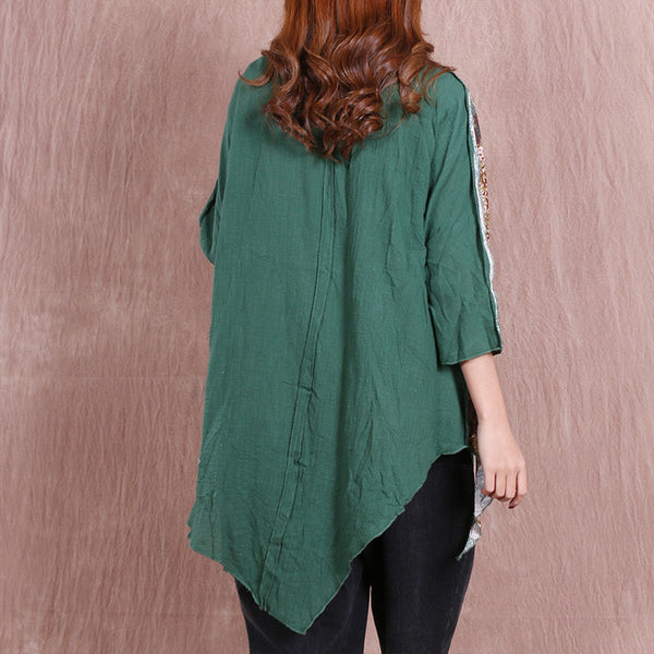 Casual Cotton Women Irregular Loose Linen Green Coat - Buykud
