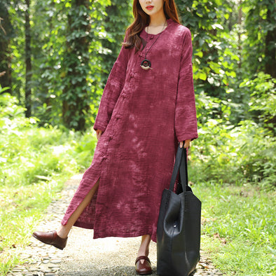 Autumn Long Sleeve Dyeing Cotton Linen Red Dress For Women - Buykud