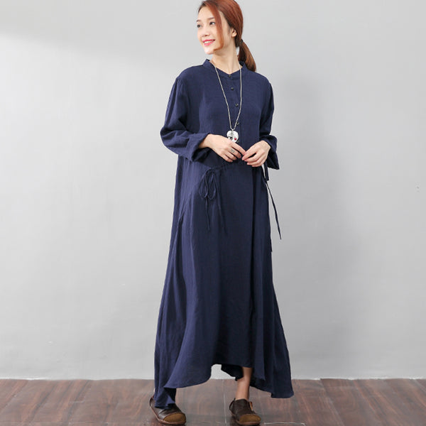 Stand Collar Women Lattice Flax Long Sleeves Blue A-line Dress - Buykud