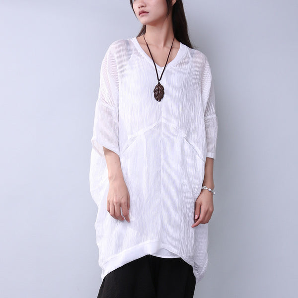 Splicing Loose Casual Women Summer Stripe Cotton Elegant White Shirt - Buykud