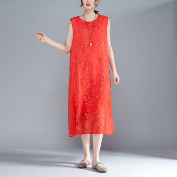 Women Embroidered Pullovers Sleeveless Red Dress