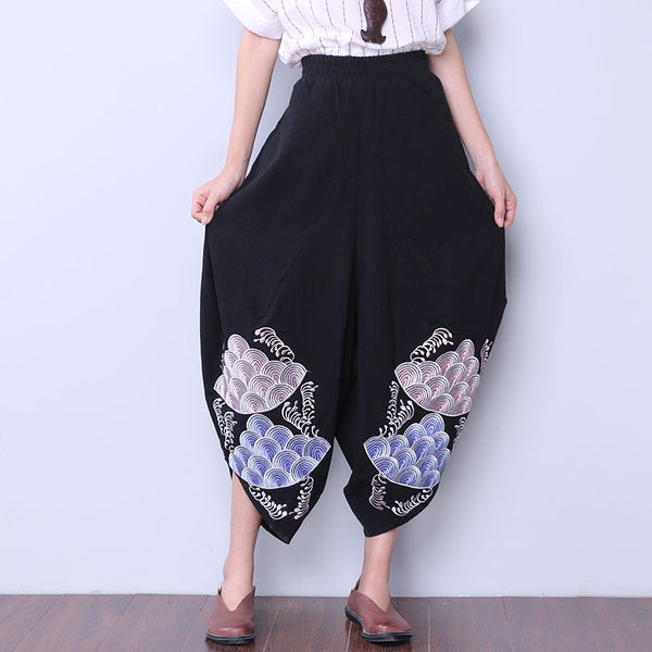 Women Embroidered Loose Black Pants