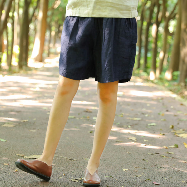 Summer Casual Simple Loose Pants Linen Dark Blue Shorts For Women - Buykud