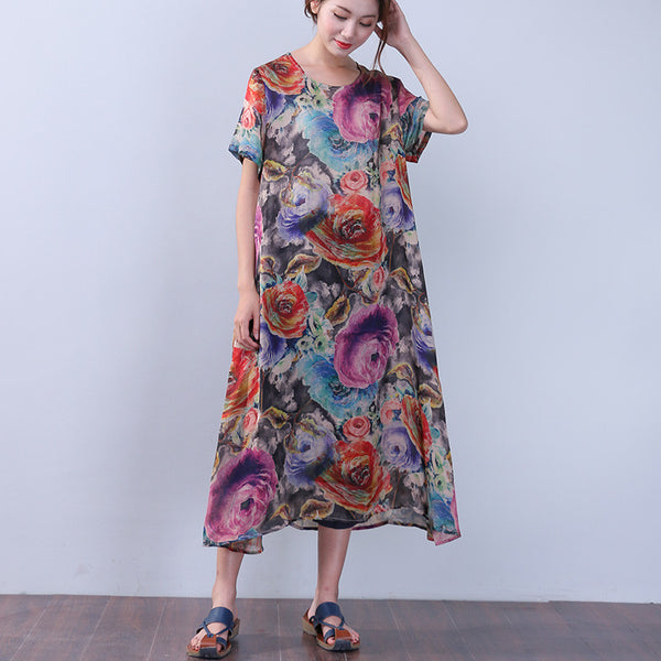 Printing Silk Retro Summer Women Loose Short Sleeves Blue Dress - Buykud