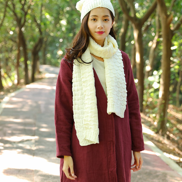 Simple Winter Fashion Pure White Knitted Scarf+Hat - Buykud