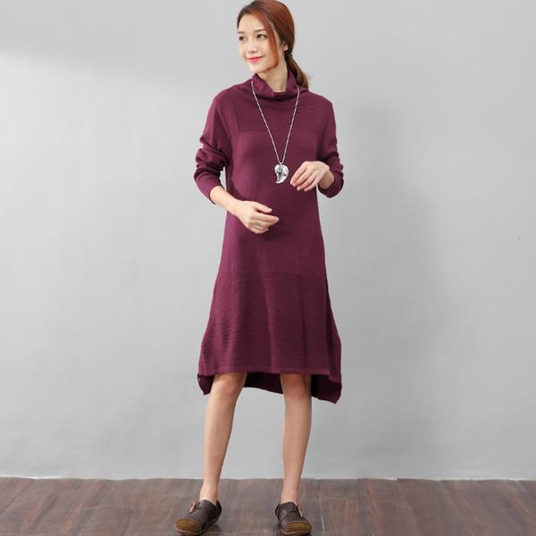 Women Casual Long Sleeve Irregular Hem Slim Gray Dress