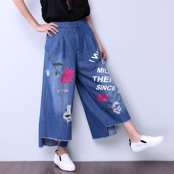 Embroidered Floral Women Loose Irregular Casual Cotton Hole Blue Pants