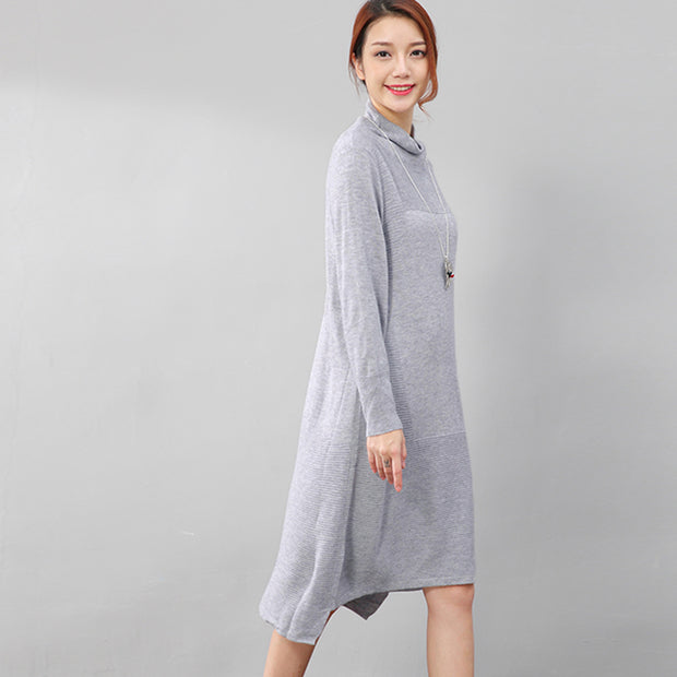 Women Casual Long Sleeve Irregular Hem Slim Gray Dress - Buykud