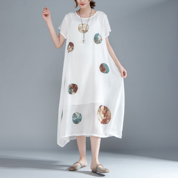 Women Short Sleeve Printed Pockets White Dress