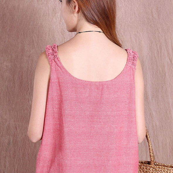 Summer Casual Women Loose Printing Red Short Vest - Buykud