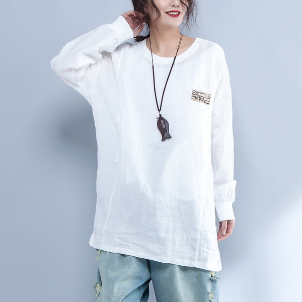 Loose Women Round Neck Long Sleeve White Casual Shirt - Buykud