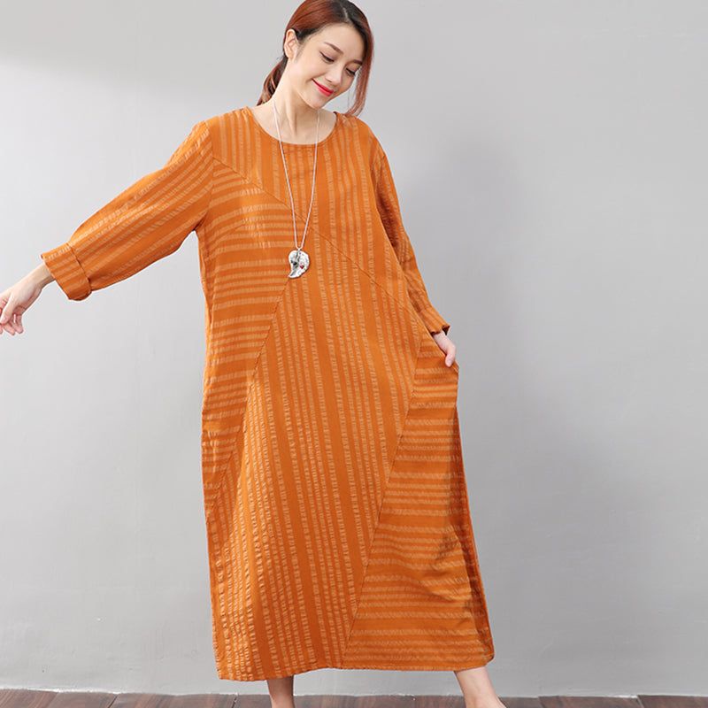 Yellow Long Sleeves Literature Casual Loose Stripe Cotton Linen Dress - Buykud