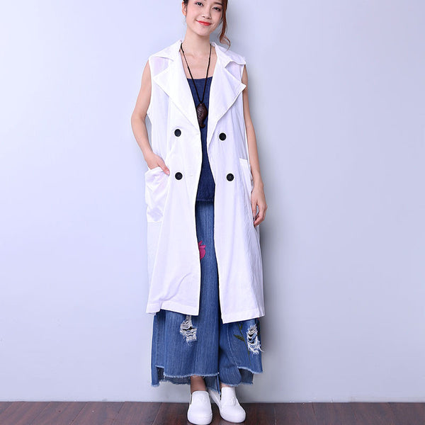 Solid Casual Button Pocket Women White Coat - Buykud