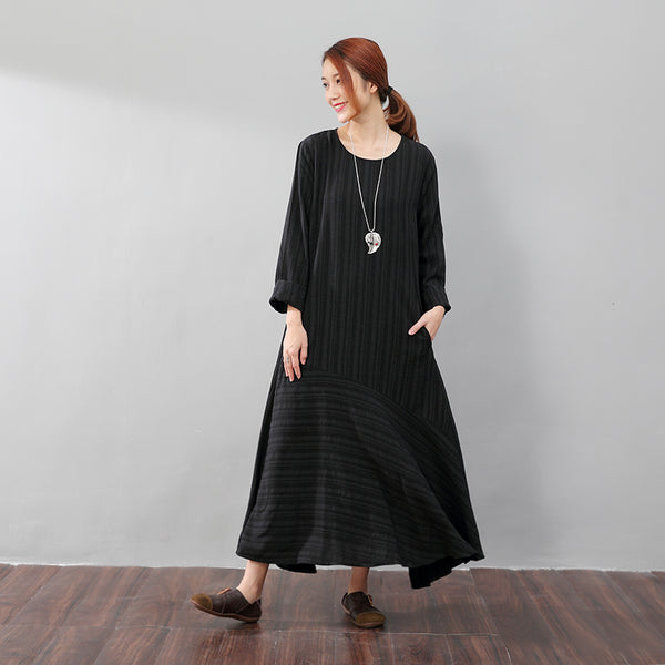 Literature Casual Loose Stripe Pocket Flax Long Sleeves Black Dress - Buykud