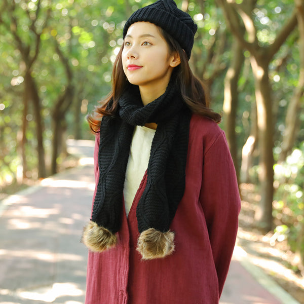 Keep Warm Autumn Winter Knitting Black Scarf+Hat For Women - Buykud
